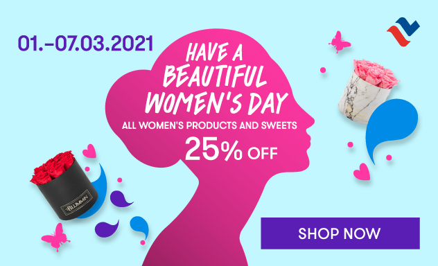All women's products and sweets 15% off until 07.03.2021 in Web Shop.