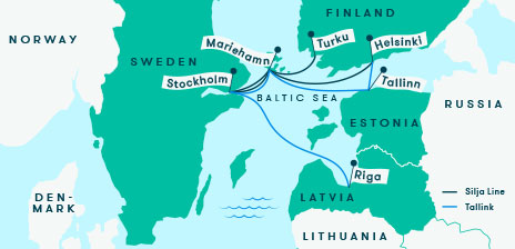 Tallink and Silja Line route map